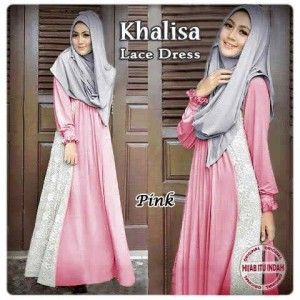 Busana muslim remaja syar'i khalisa lace dress pink