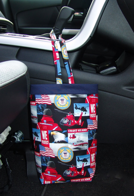 Car Trash Bag  US COAST GAURD fabric by GreenGoose on Etsy