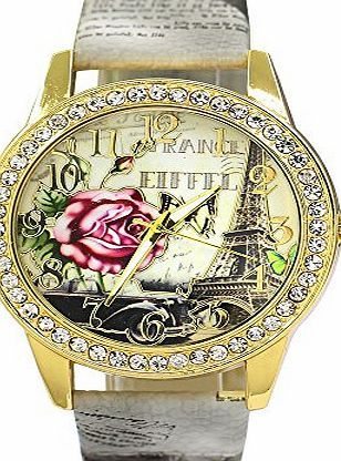 Bluelans Rose Flower Printed Dial Faux Leather Strap Watch Ladies Dress Quartz Watches (Grey) Package Included 1x watch (Barcode EAN = 0740690202062). http://www.comparestoreprices.co.uk/december-2016-week-1/bluelans-rose-flower-printed-dial-faux-leather-strap-watch-ladies-dress-quartz-watches-grey-.asp