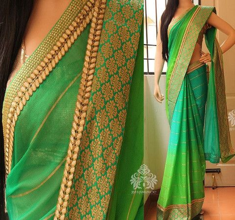 Green designer georgette