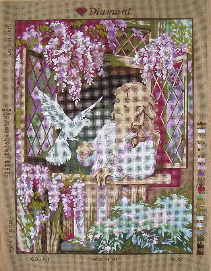 Diamant needlepoint canvas C937 Woman and dove