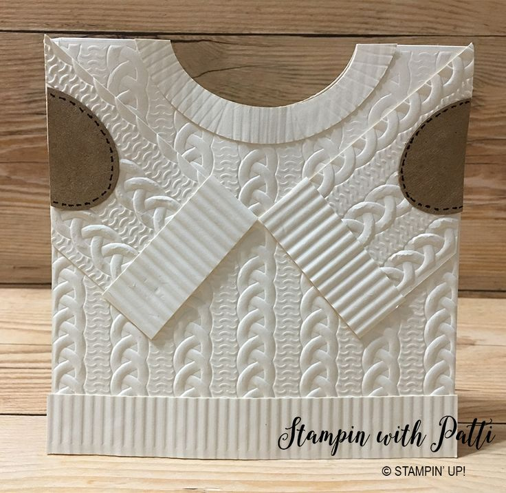 I wanted to make a sweater card and did not want it to look like all the others I have seen on the internet. I looked a a lot of real sweater images on line and came up with this idea. I used the Stampin' Up! Cable Knit Dynamic Textured Impressions Embossing Folder and a paper… Read More »
