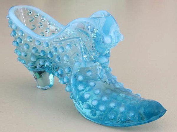 Blue Glass Hobnail Shoe Glass Shoes Fenton Glass Ceramic Shoes