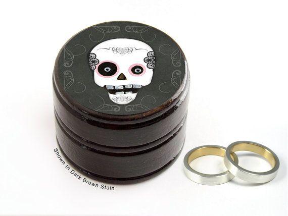 Sugar Skull Pill Box - Skull Non Toxic Vitamin Box - Gothic Punk Skull Wedding Ring Box - Skull Powder Box - Ring Bearer Box