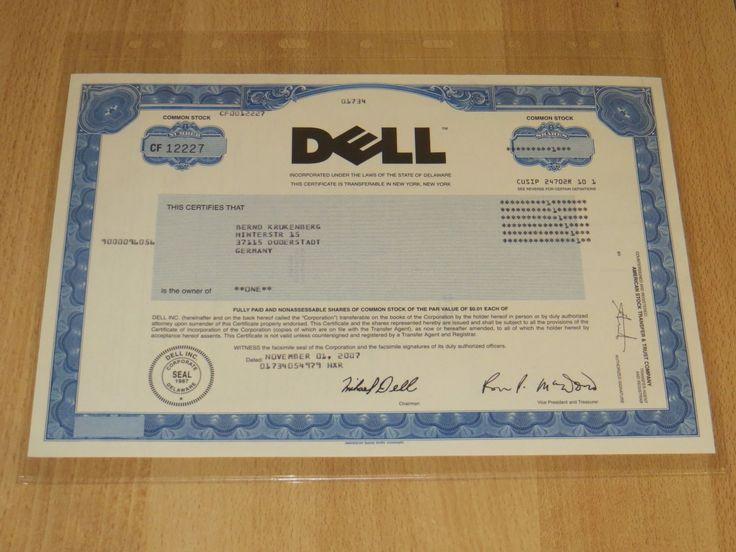Historische Aktie - Dell 2007 - Original unentwertet Rarität