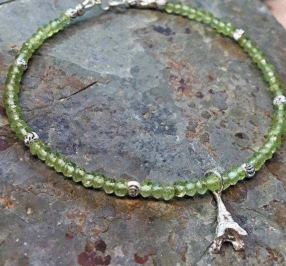 #handmade Natural #peridot #bracelet. #sterling silver with #paris #eiffel tower #charm by Emmalishop