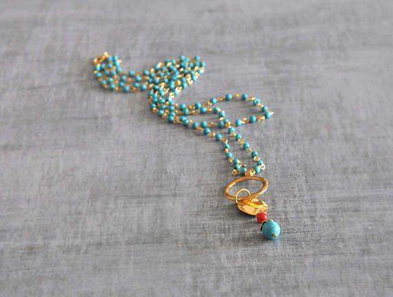 Boho Beaded Necklace  Two Strand Necklace  Turquoise