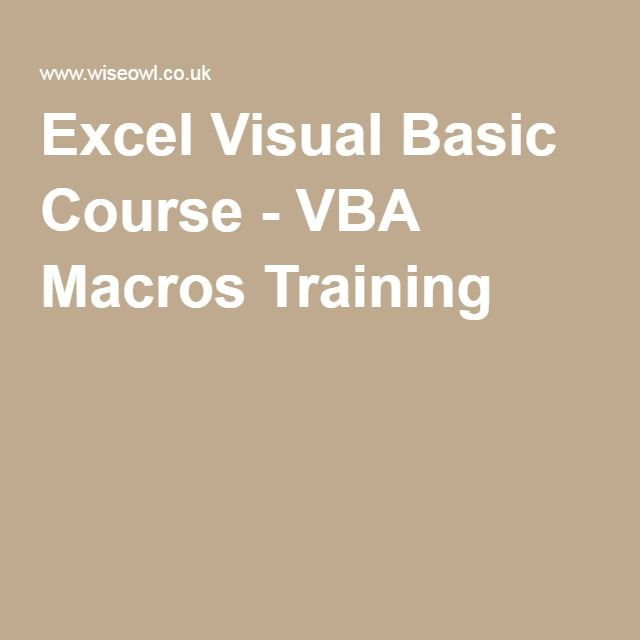 Excel Visual Basic Course - VBA Macros Training