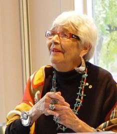 Daphne Odjig, CM, LL.D. (b. September 11, 1919), is an influential Canadian First Nations artist of Odawa-Potawatomi-English heritage. Her many awards include the Order of Canada and the Governor General's Award. Her painting is often characterized as Woodlands Style. Daphne Odjig was the driving force behind the Indian Group of Seven.