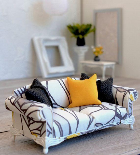 1:12 Dollhouse Miniature Furniture Room Sofa Armchair Cushion Pillow Blue X2 //