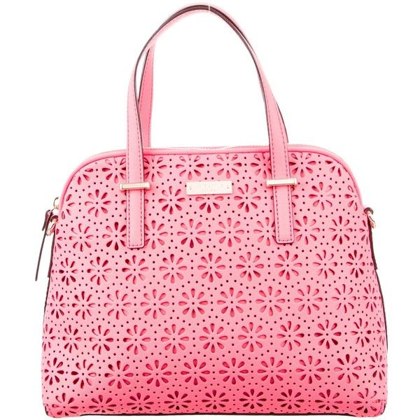 Pre-owned Kate Spade New York Cedar Street Perforated Maise Bag ($95) ❤ liked on Polyvore featuring bags, handbags, pink, pink purse, handbag purse, leather purses, leather hand bags and hand bags