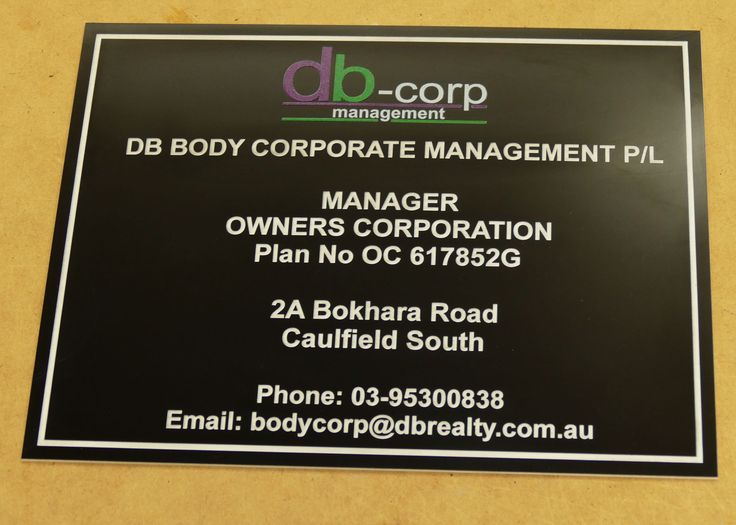 Body corporate signs made to order. Choose size colour and details