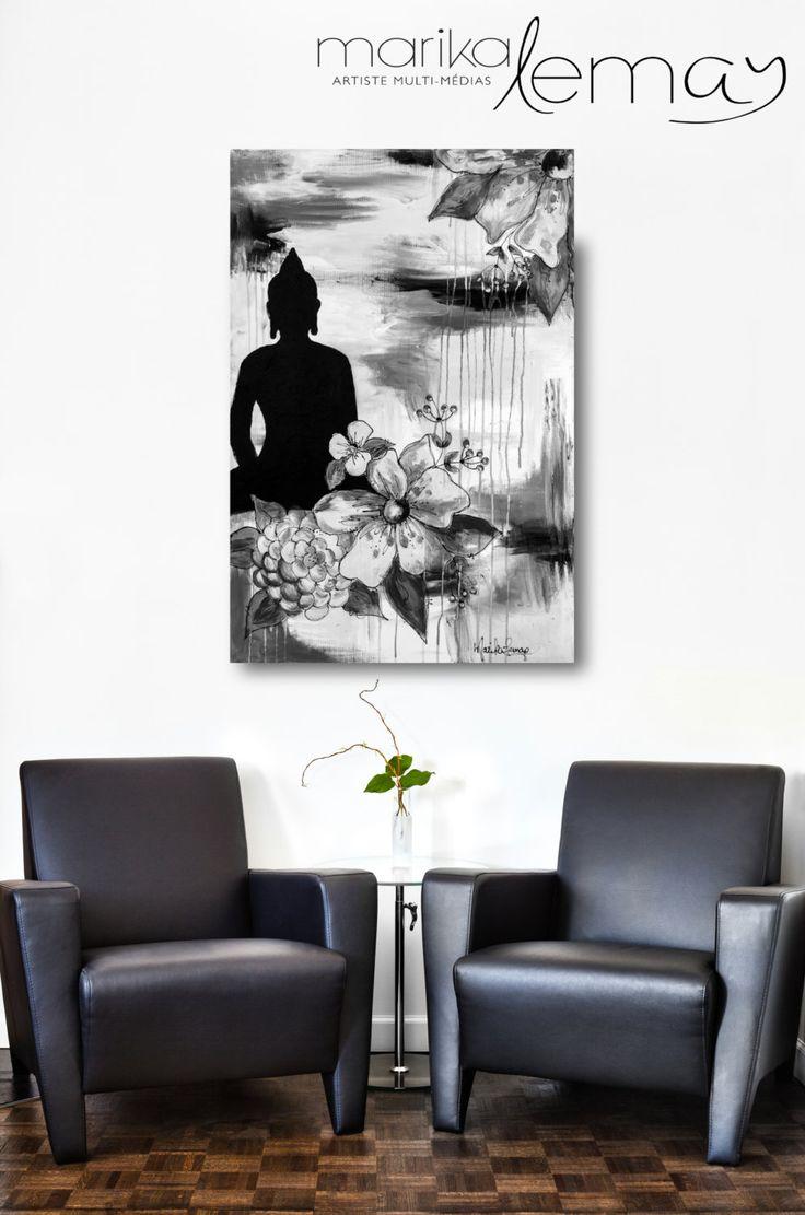 Print, Giclée/reproduction noir et blanc Le Bouddha 2 mixed médias de la boutique MarikaLemayArtiste sur Etsy