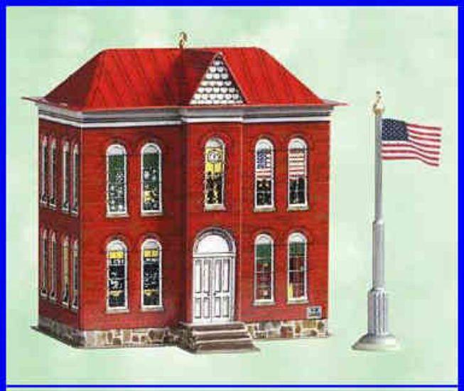 Hallmark SCHOOL HOUSE & FLAG Pressed Tin Die-Cast Metal NIB Town & Country 2003 #Hallmark
