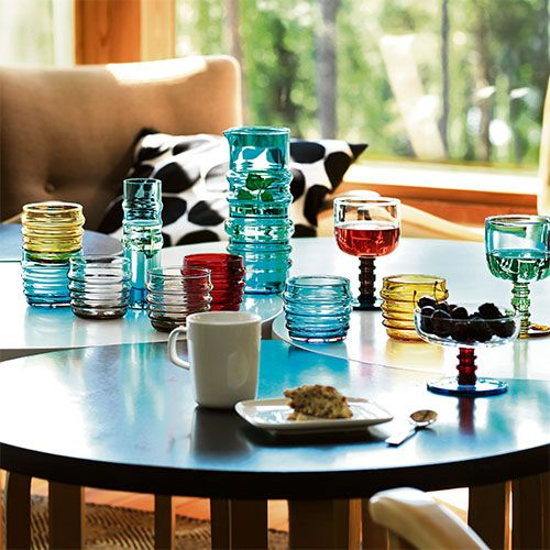 """Sipping summer drinks from these mouth-blown soda-lime glasses stained a stunning lemon yellow = heaven. Marimekko """"Socks Rolled Down"""" Yellow Tumbler (Set of 2) -  we love them at Cloudberry Living they are fun, cool and beautiful to drink from."""
