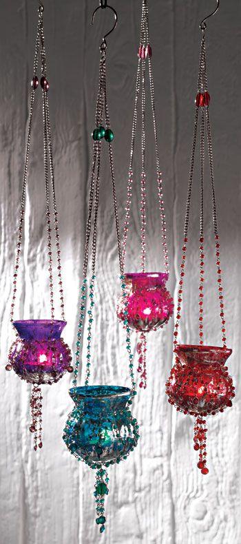 Hanging beaded metallic glass tealight holder