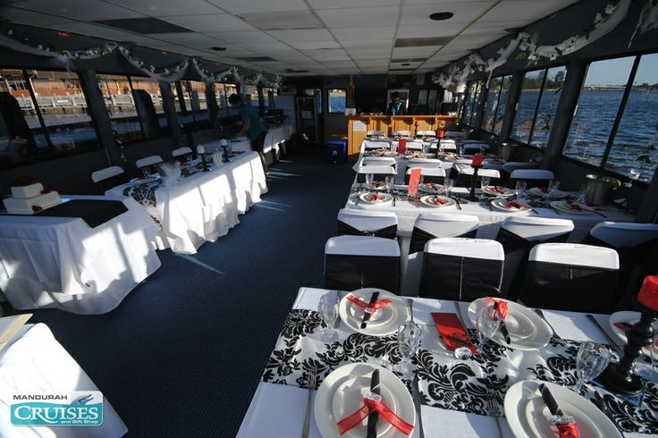 A black and white theme aboard our floating wedding venue. #wedding #reception #venue