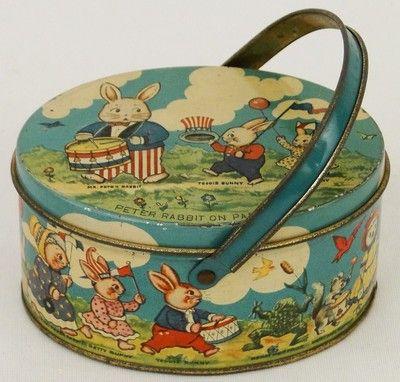 Vintage 1920's Tindeco Tin Deco Peter Rabbit Easter Parade Handled Basket Box
