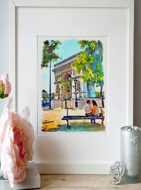 The Arch of Triumph Paris Watercolor painting Paris by Artsyndrome