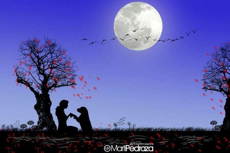 NOCHE DE LUNA LLENA Hoy es noche de luna llena noche joven y preciosa. Luna bella, tu brillante luz incitaron a mis ojos a soñar despierta. Te miro y me miras, tu redondez es perfecta como lo es la de mi tierra desde donde te admiro. Nada interrumpe el silencio de la penumbra de esta noche. Es una noche callada, la luz de la luna ha inquietado mi sueño y mis ojos permanecen despiertos. ¡Noche qué preciosa eres!, Noche…, de luna llena.  ♥♥♥♥♥♥♥