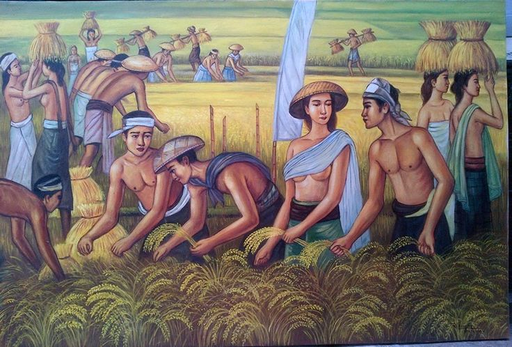 For sale | Harvesting padi / rice, oil on canvas, 100 x 150 cm