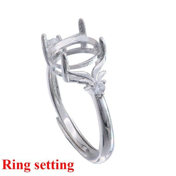 12mm size 9 Sterling Silver Vintage Style Engagement Ring wide w// CZ Stones 1//2