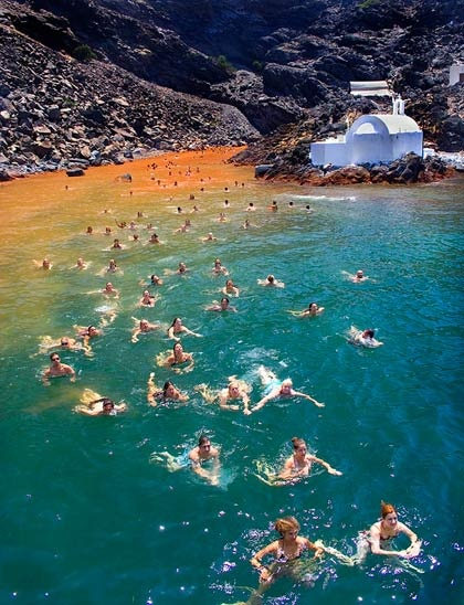 Hot Springs at the Volcano, Santorini, Greece Me and nathan swam here! X