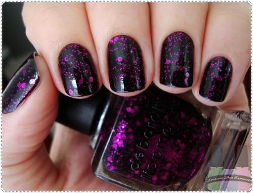 Black Nails with Purple Glitter: Deborah Lippmann, Nails Art, Polish Nails, Nailpolish, Purple Glitter, Glitter Nails, Purple Nails, Black Nails, Nails Polish