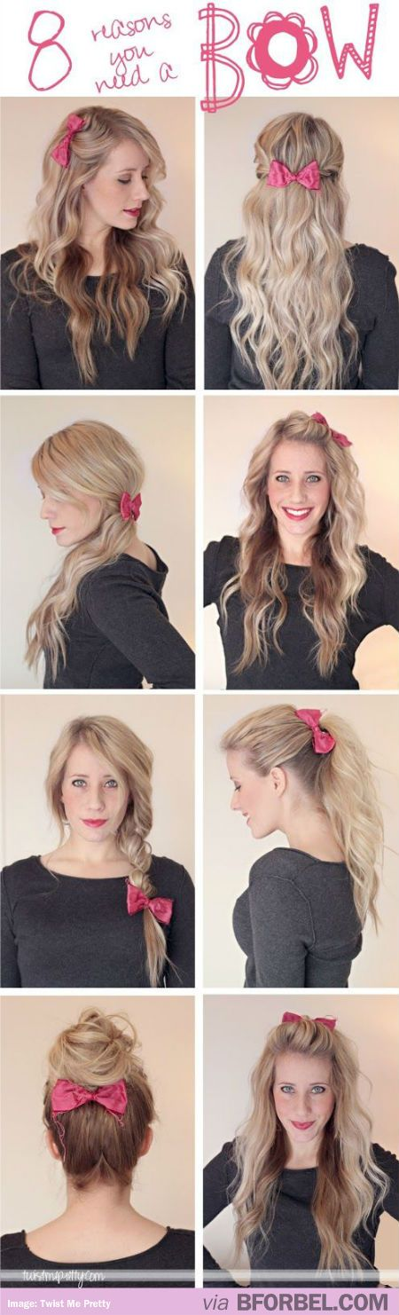 8 Ways To Use A Hair Bow Without Looking Too Alice-y… For when I have long hair again someday.