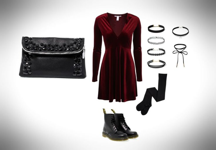 A grunge '90s inspiration, with a velvet red dress, #DrMartens boots and a small and fashionable #purse by #ErmannoScervino.