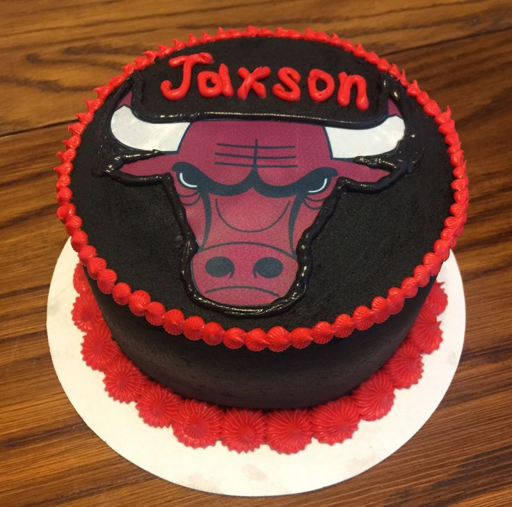 """Chicago Bulls 6"""" smash cake made with white cake and buttercream icing, black for extra messy photos! Taste and see that the Lord is good!! Cristin's Cake Creations"""