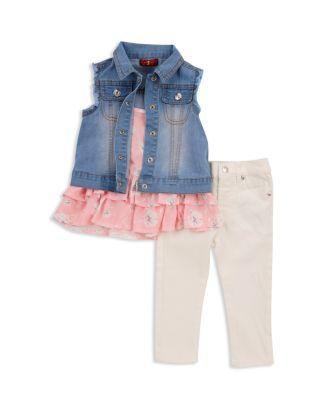 15bf4231a 7 For All Mankind Girls' Denim Vest, Ruffled Tank & Jeans Set - Baby |  Bloomingdale's