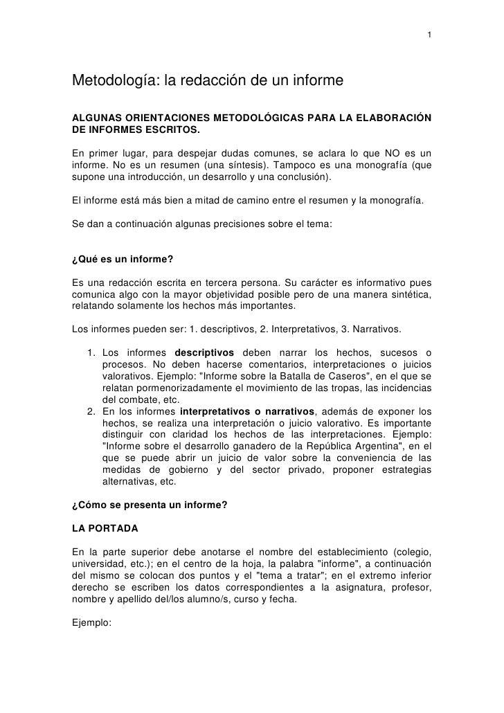 1 Metodologia La Redaccion De Un Informe Algunas Orientaciones Metodologicas Para La Elaboracion De Informes E Informe Redaccion Metodos De Investigacion