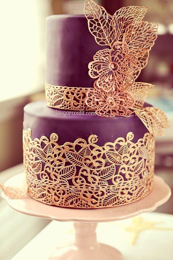 40 So Pretty Lace Wedding Cake Ideas Purple And Gold