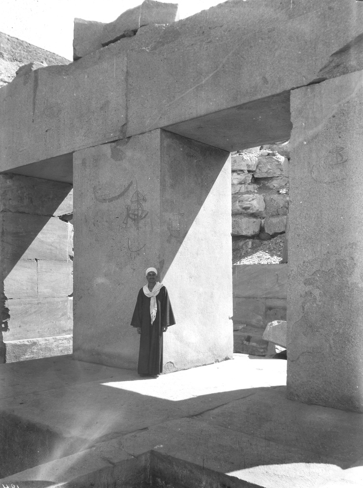 Image Collections and Fieldwork Thomas Whittemore exhibit › Abydos › Cenotaph of Seti I (Osireion), pillared hall, 1st and 2nd pillars, graffiti, Abydos, Egypt, 1931