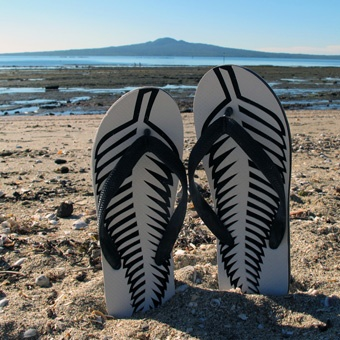 Jandals the kiwi word for flip flops or thongs is a combination made in 1957 from Japanese and sandals. It's a cultural icon in New Zealand.