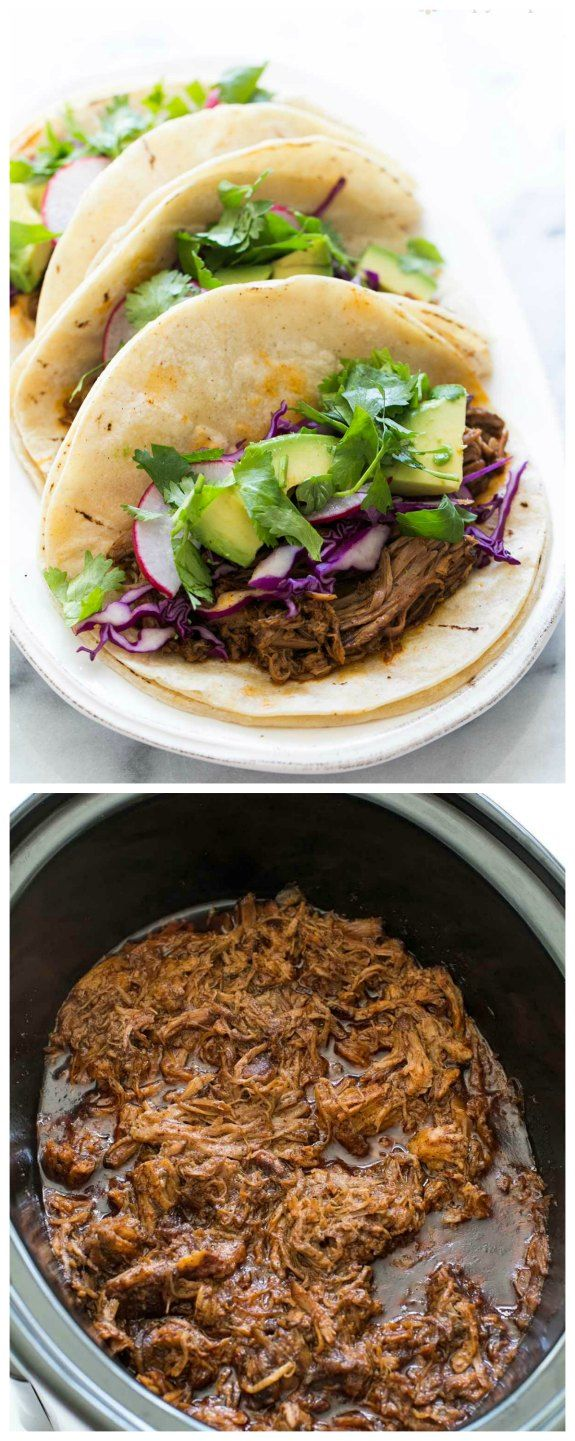 Slow Cooker Mexican Pulled Pork from Simply Recipes sounds like the beginning of a delicious dinner any time of year! And who doesn't love a tasty taco dinner from the crockpot? [featured on SlowCookerFromScratch.com]