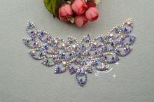 gratis verzending bruids naaien jurk applique zilver ab kristal strass bruiloft levering bekleding a488(China (Mainland))