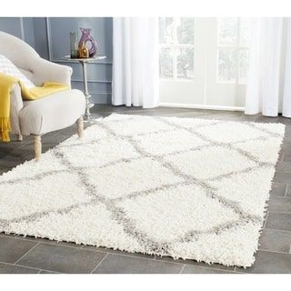 Shop for Safavieh Dallas Shag Ivory/ Grey Trellis Rug (4' x 6'). Get free shipping at Overstock.com - Your Online Home Decor Outlet Store! Get 5% in rewards with Club O! - 16688180