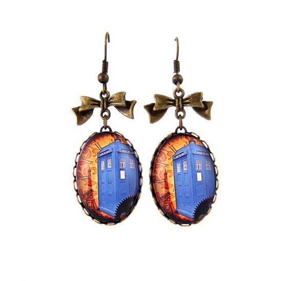 Tardis Earrings Doctor Who Inspired Earrings Steampunk Earrings Dr Who Fandom on Etsy, $24.57