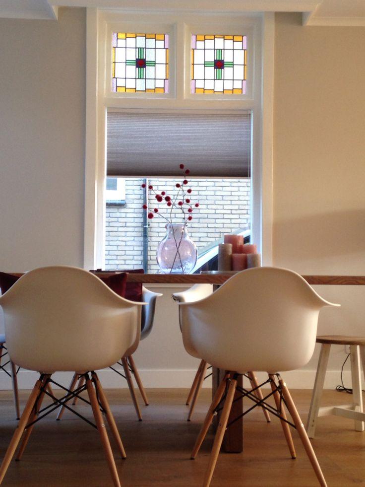 Jaren 30 woning, glas in lood, raamdecoratie