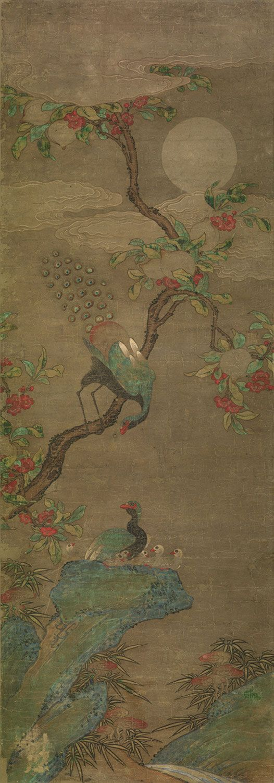 Peacocks in Peach Tree under Moonlight | Unknown | Korean | Joseon Dynasty | Philadelphia Museum of Art