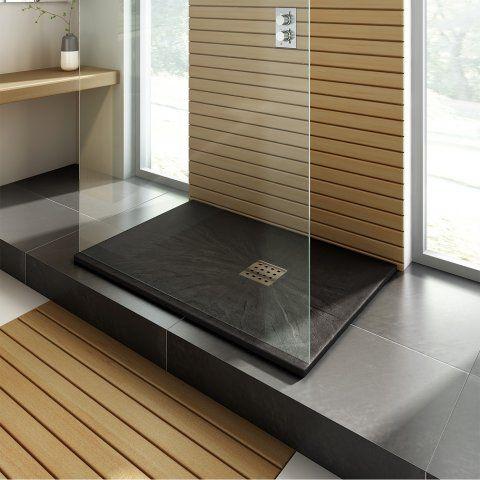 1200mmx800mm Rectangular Shower Tray & ChromeChrome Waste in Slate Effect - soak.com