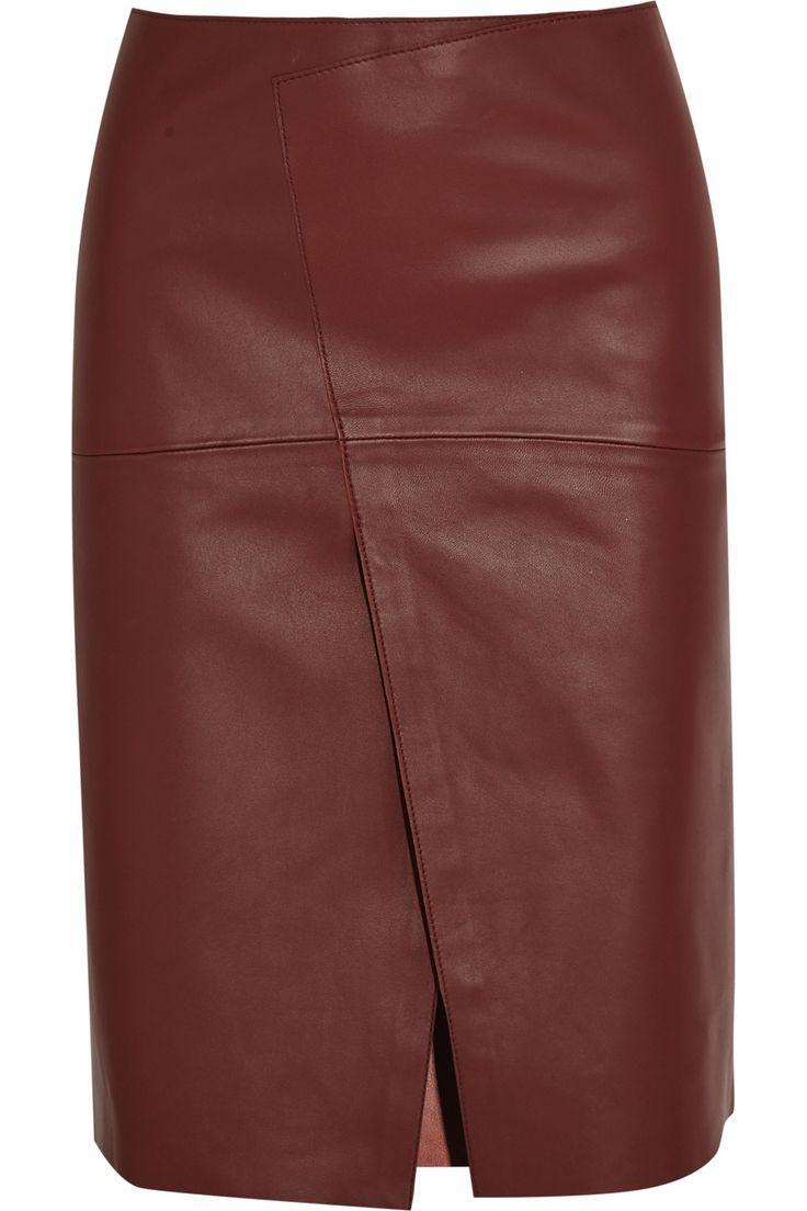 JosephSaar wrap-effect leather skirt