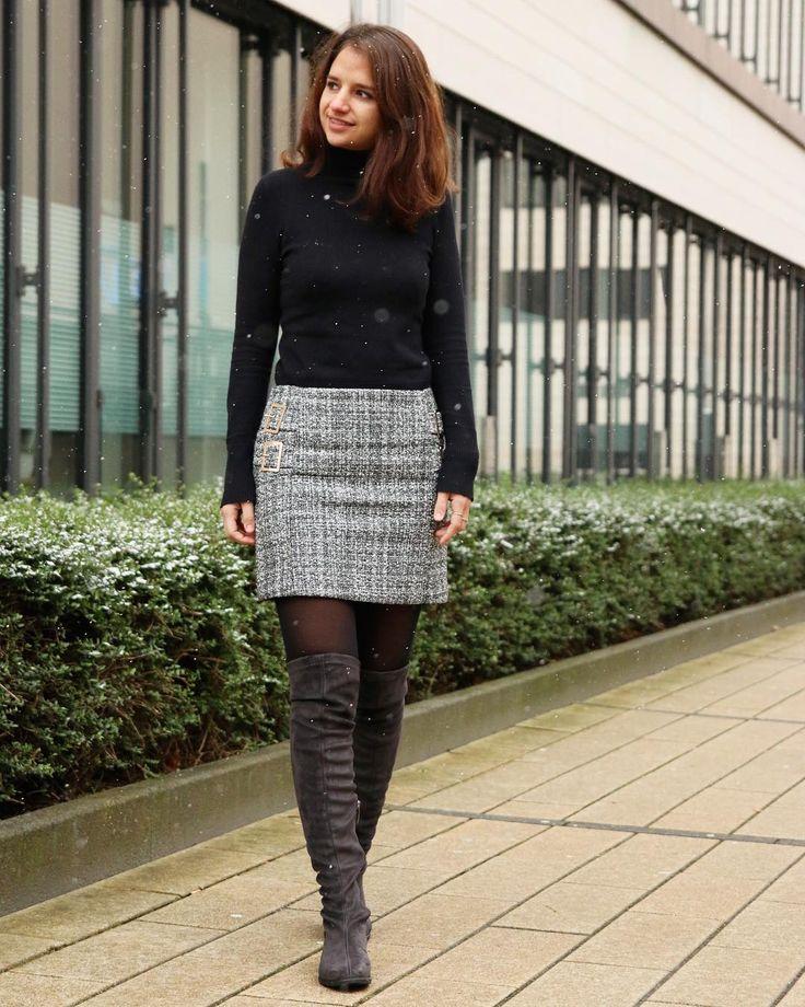 Winter Outfit, Style Overknees, Miniskirt, black and white