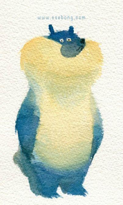 Water colors bears. by Ssebong Kim, via Behance