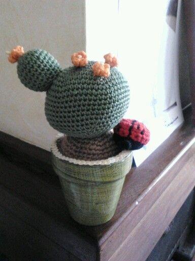 Cactus amigurumi + coccinella