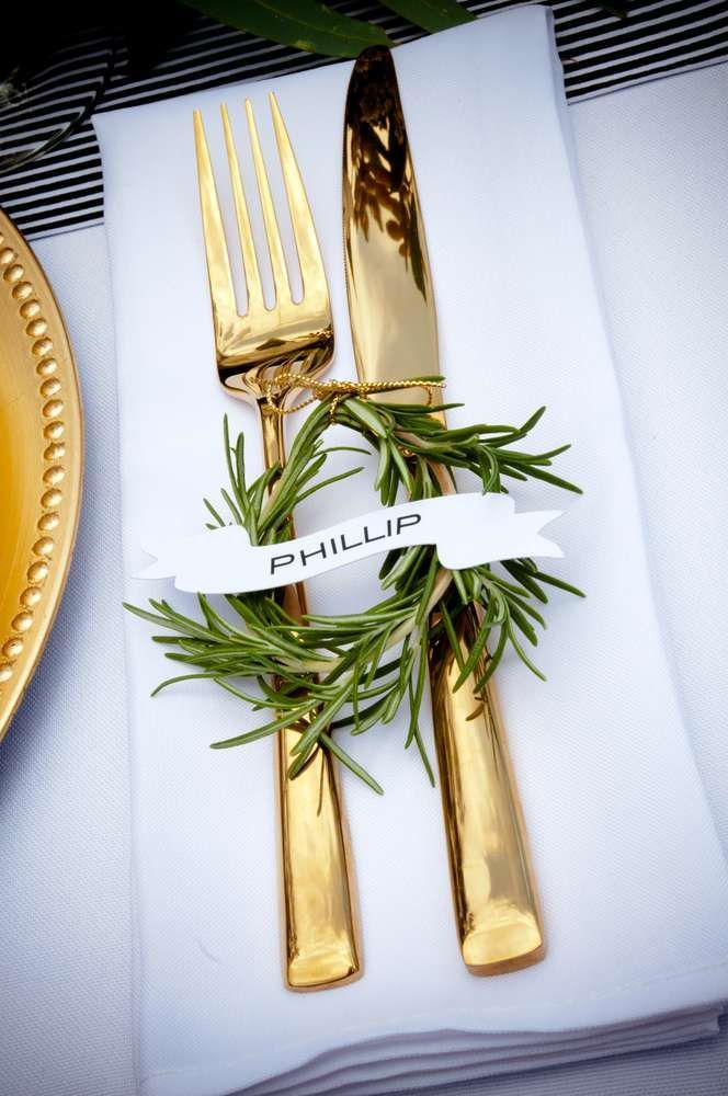 Gold flatware at a beach wedding party! See more party planning ideas at CatchMyParty.com!