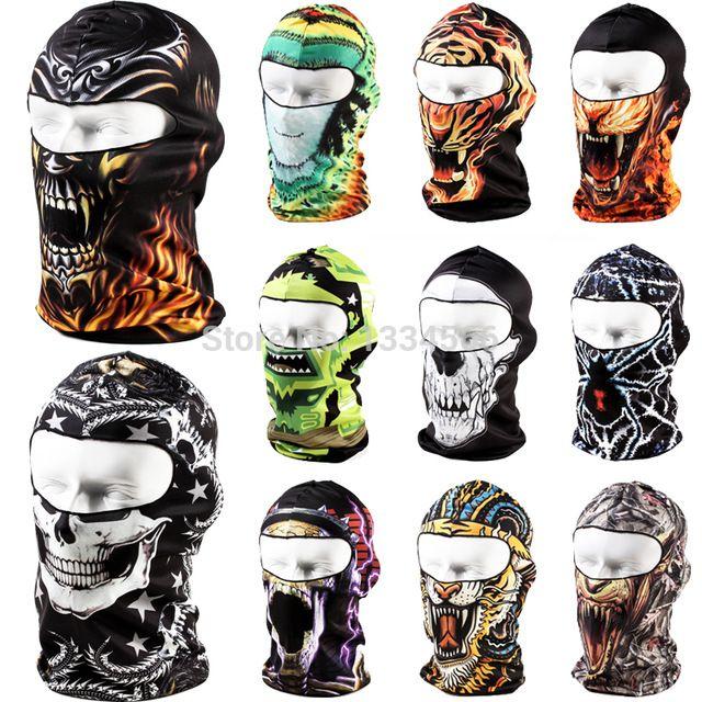 Brand 3D Cycling Bicycle Sports Outdoor Ski Snowboard Motorcycle Skull Cap Helmet Balaclava Headgear Hats Protect Full Face Mask