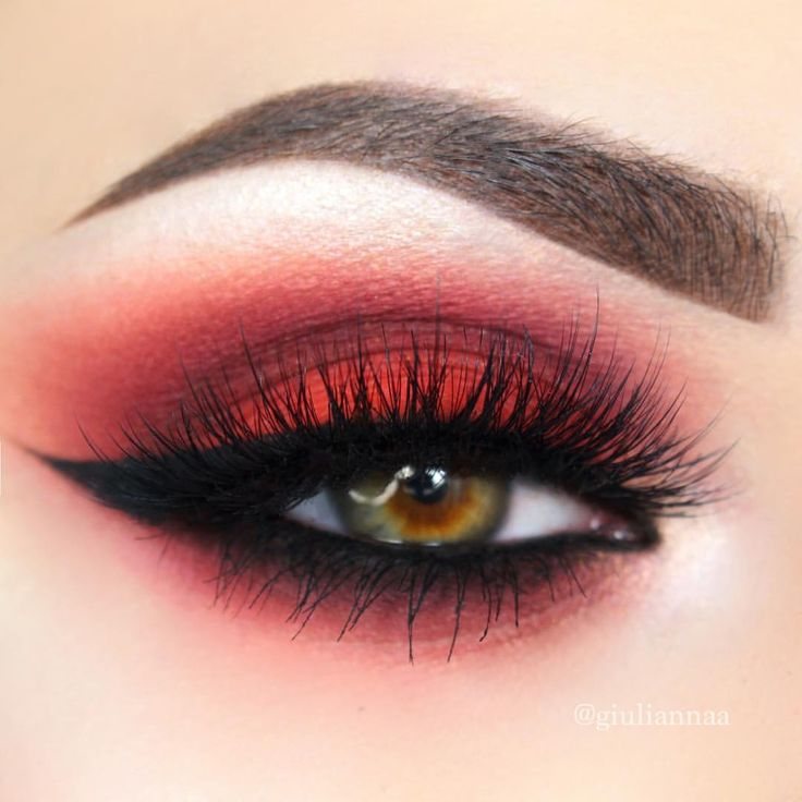 """•Giulianna Maria• on Instagram: """"Eye look from a full face comin atcha later this week:) @vegas_nay @eylureofficial grand glamour lashes, @meltcosmetics blurr, dark matter, and lovesick, @suvabeauty Bloody Mary shadow, @anastasiabeverlyhills crushed pearl from gleam glow kit as highlight on browbone and inner corner, also @anastasiabeverlyhills @norvina dark brown dipbrow❤️❤️❤️. Edit: did this josh dun character invent red eye makeup? Lol"""""""